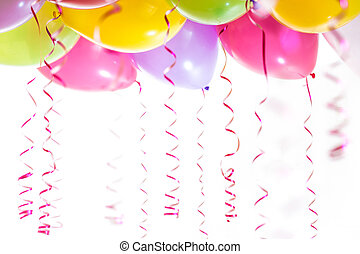 wimpels, vrijstaand, jarig, achtergrond, feestje, witte , ballons, viering