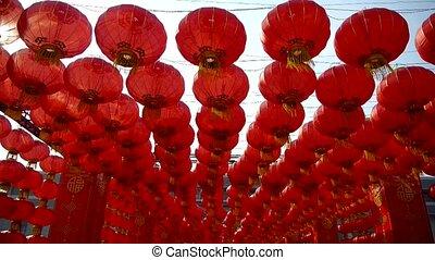 wind, slingeren, lantaarns, tassel, rood