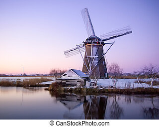 windmolen, holland, zonopkomst