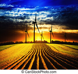windmolen, ondergaande zon