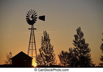 windmolen, silhouette, zonopkomst