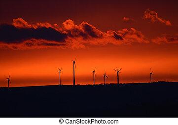 windmolen, vroeg, zonopkomst