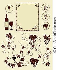 winery, druif, set., wijngaarden, voorwerpen