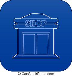 winkel, blauwe , vector, pictogram