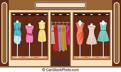 winkel, boutique., kleding, vrouwen