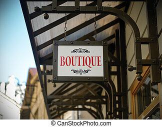 winkel, boutique, meldingsbord