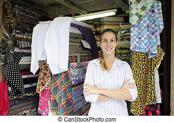 winkel, eigenaar, detailhandel, portait