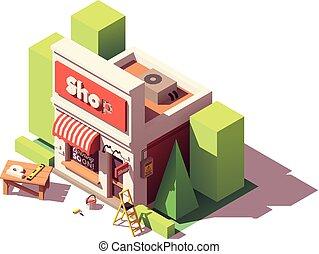 winkel, het brandmerken, isometric, vector, pictogram