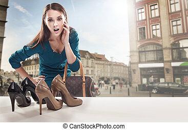 winkel, het kijken, venster, vrouw, jonge
