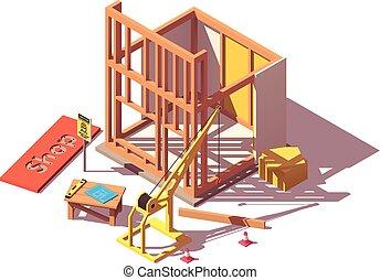 winkel, isometric, vector, bouwsector