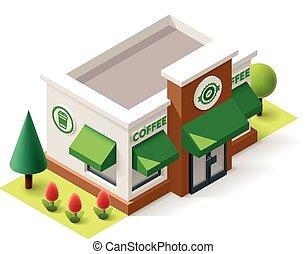 winkel, isometric, vector, koffie