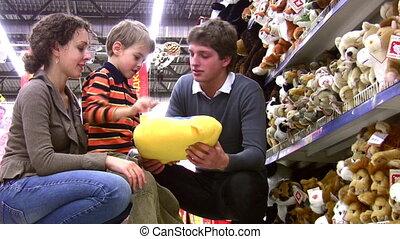 winkel, jongen, speelbal, gezin