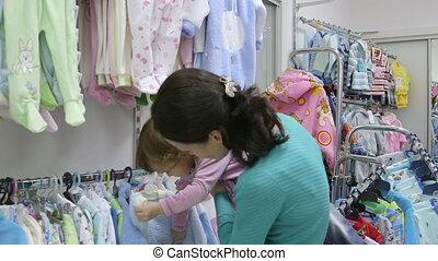 winkel, kleren, dochter, moeder