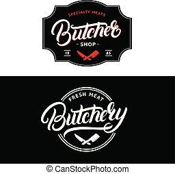 winkel, lettering, set, badge, vleeshouwerij, slager, overhandiig geschrijvenene, etiket, emblem., logo