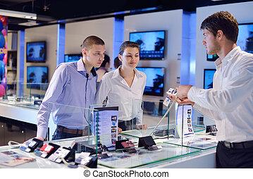 winkel, mensen, consument elektronica, kopen