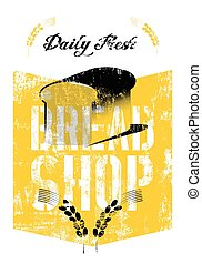 winkel, ouderwetse , grung, typografie, brood