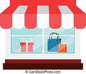 winkel, plat, vector, pictogram