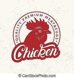 winkel, poster, slager, etiket, logo, farmer, chicken, afdrukken, markt