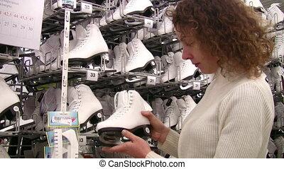 winkel, schouwend, vrouw, skates