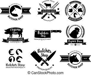 winkel, slager, vector, label., logo, illustrations.