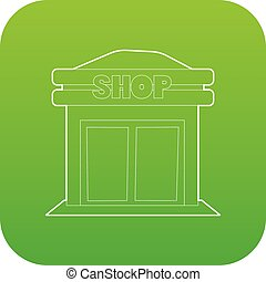 winkel, vector, groene, pictogram