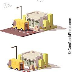 winkel, vector, laag, poly, pictogram
