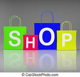 winkel, zakken, shoppen , tonen, detailhandel, aankoop