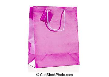 winkeltas, enkel, achtergrond, viooltje, witte