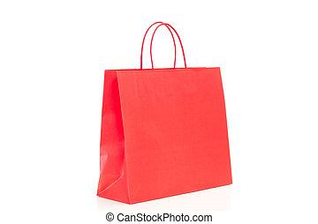 winkeltas, enkel, achtergrond, wit rood