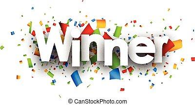 winnaar, papier, banner.
