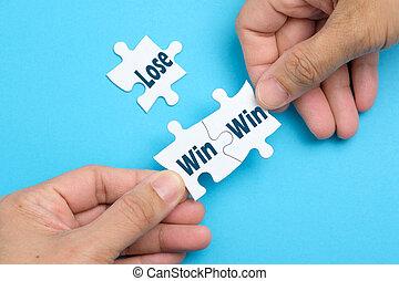 winnen, witte , raadsel, toestand