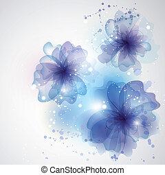 winter, auto, floral, flowers., achtergrond, kolken, kaart, design.