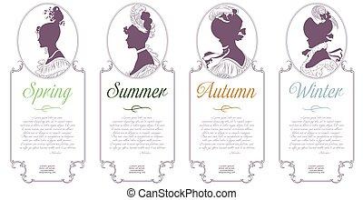 winter., camee, lente, herfst, vier, ontwerp, vrouwlijk, seasons., zomer