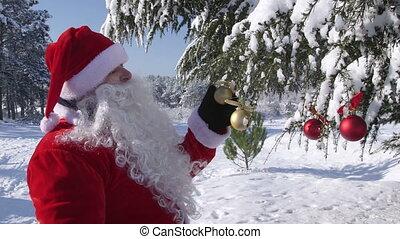 winter, claus, boompje, hand, zwaaiende , bos, kerstman, verfraaide, kerstmis