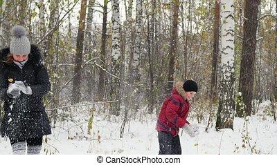 winter, gezin, gegooi, park, sneeuwballen, spelend