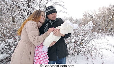 winter, gezin, jonge