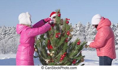 winter, gezin, recreatief, feestdagen, bos, activiteit, kerstmis