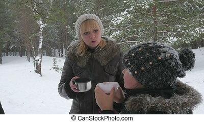 winter, gezin, thee, buiten, warme, drinkt, vrolijke , 96fps