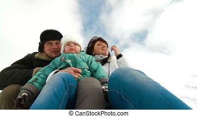winter, gezin, vrolijke