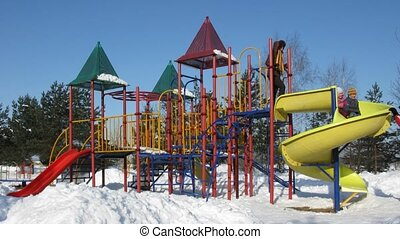 winter, gezin, wrakkigheid, vier, speelplaats, tijd