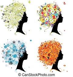 winter., hoofd, kunst, lente, herfst, -, vier, ontwerp, vrouwlijk, jaargetijden, jouw, zomer