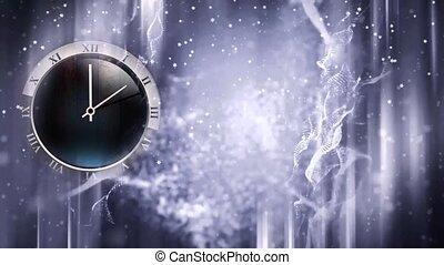 winter, klok, bevroren, venster, verhuizing, achtergrond, handen, kerstmis