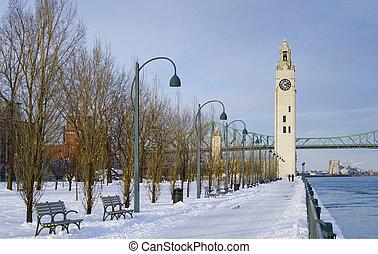 winter, klok, park, sneeuw, toren, rivier, montreal