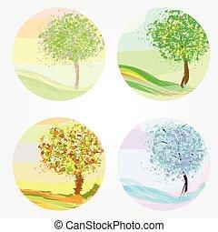 winter, lente, herfst, -, quatres saisons, zomer