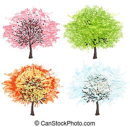 winter., mooi, kunst, illustration., lente, herfst, -, boompje, vier, vector, jaargetijden, jouw, zomer, design.
