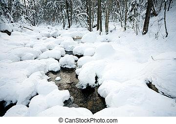 winter, onder, sneeuw, rivier, bos