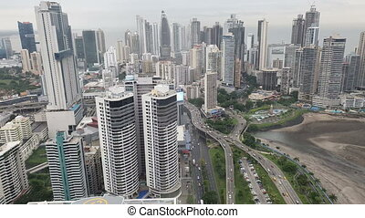 winter., stad, luchtopnames, panama, panama., downtown, hoofdstad, aanzicht