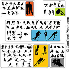 wintersport, silhouettes, verzameling