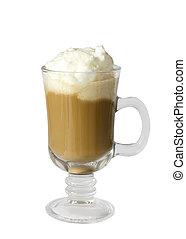 wipped, koffie, vrijstaand, latte, achtergrond, witte , room