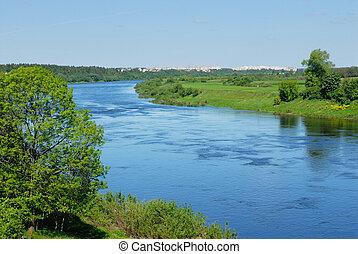 wit-rusland, rivier, dvina, westelijk